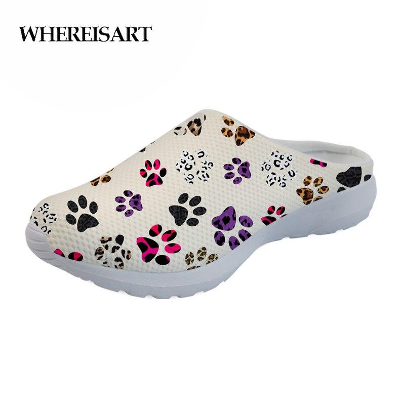 WHEREISART 2019 повседневное женские летние сандалии красочные принт лапа легкий слипоны шлёпанцы для женщин для девочек удобная обувь