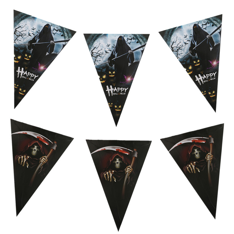 Happy Halloween Paper Banners Pulling Flag Hanging Flags Printed Grim Reaper Sickle For All Saint