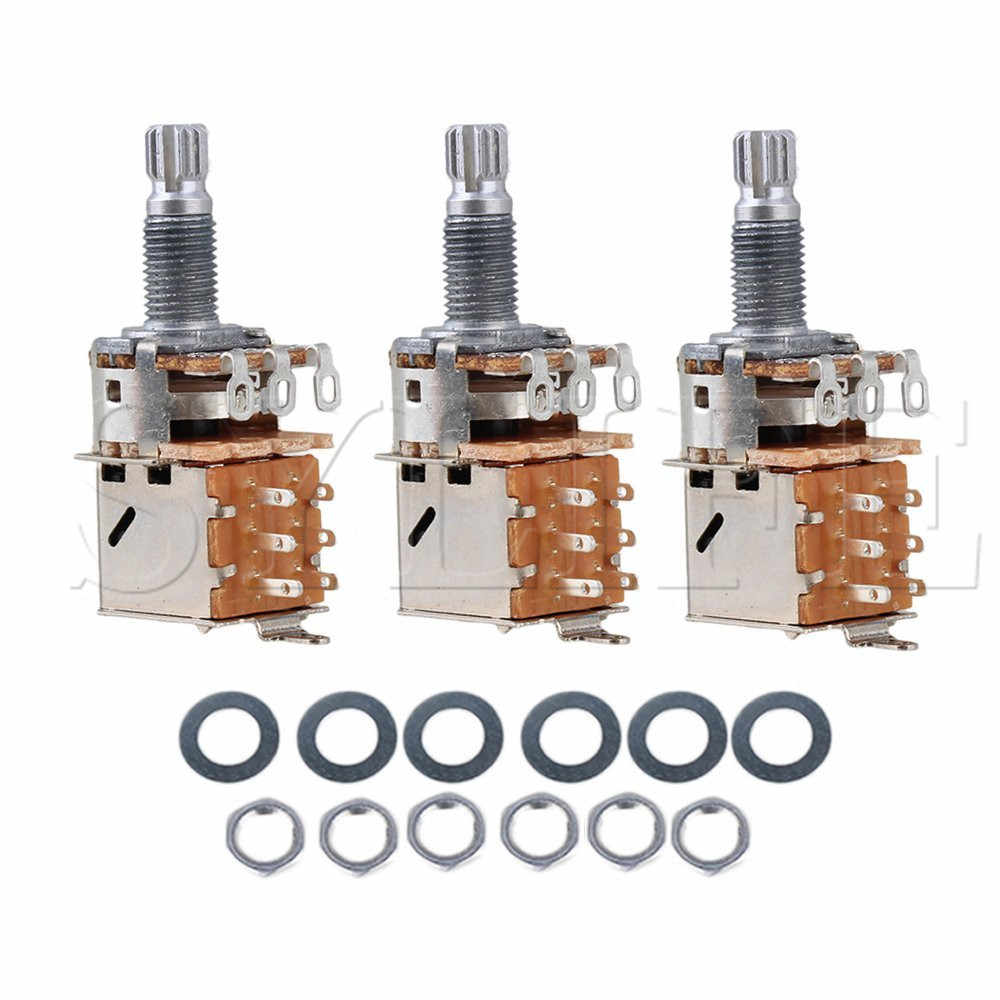 1 lot de 3 potentiomètre de Pot de contrôle de guitare Push Pull A500k