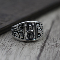 Personality Retro Thai Silver GTrousers Can Turn Ring Men Women Section S925 Sterling Silver Ring Buddhism