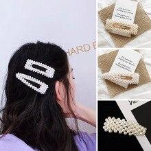 Fashion Korean Style Women Hairpin Acrylic Imitation Pearl Barrettes Girls Handmade Pearls Flower Hair Accessories