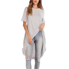 8184fffaa73 New arrival HAOLA Womens Irregular Blouses High Low Tunic Tops Casual Loose  Short Sleeve Striped Blouse