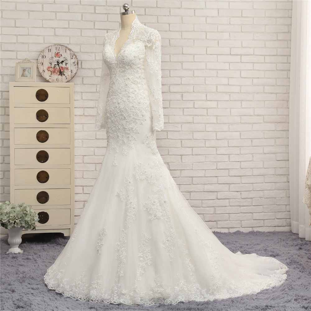 Long Sleeve V-neck Lace Mermaid Wedding Dress