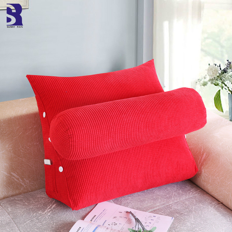SunnyRain Triangular Backrest Cushion For Sofa Cushions For Bed Thick Corduroy Pillow Back Support Large Size