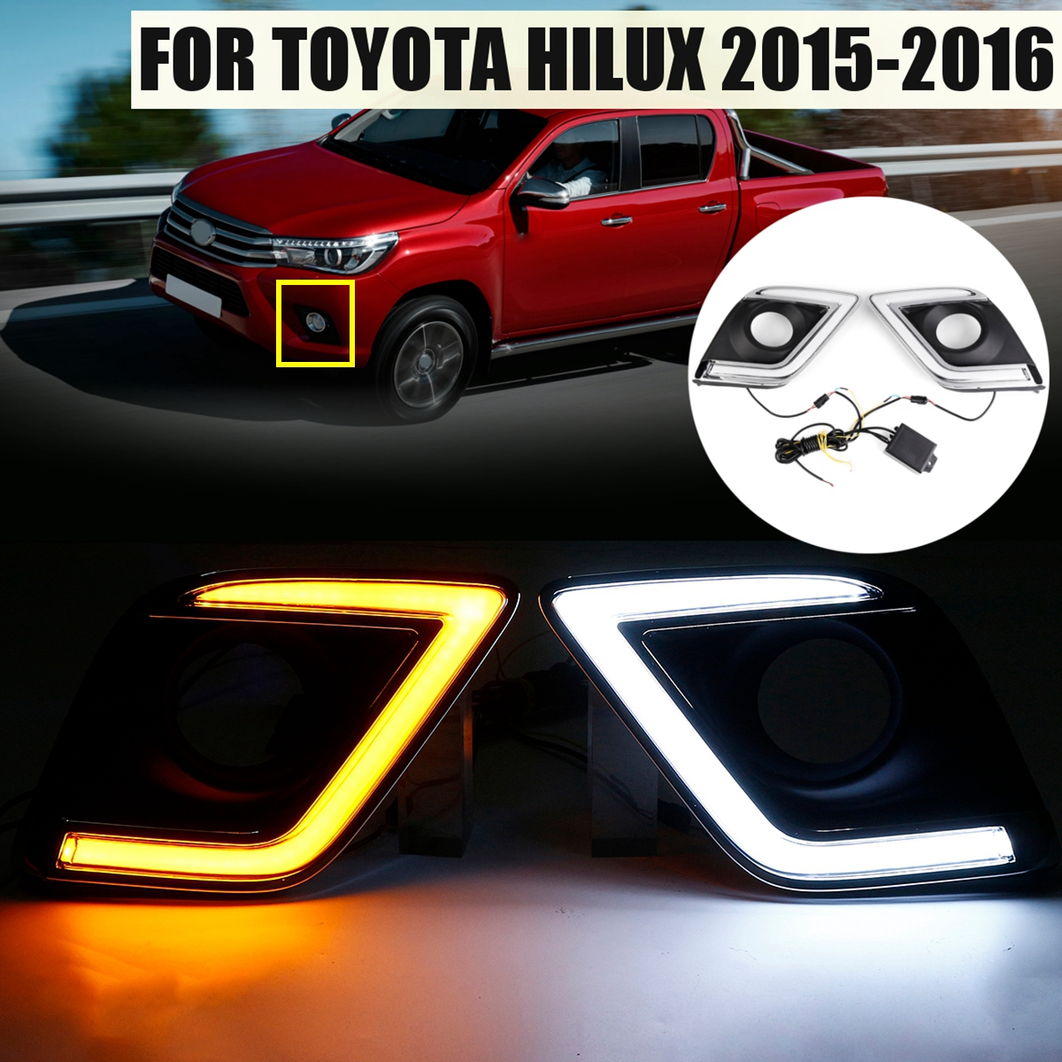 For Toyota Hilux Revo 2015-2016 1 Pair Car LED DRL Daytime Running Lights Turn Signal Lamp DRL fog lamp cover with turn signal 12v car led drl daytime running light fog lamp cover with turn signal light for hyundai elantra 2016 2017