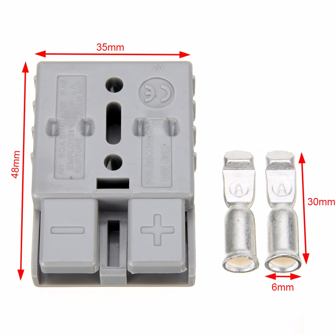 6 sets Mayitr Anderson Style Plug 50AMP Exterior Connector DC Power for Solar Panels Caravan Dual Battery Systems 600V 1 sets new 1pin 120a 600v power connector battery plug male