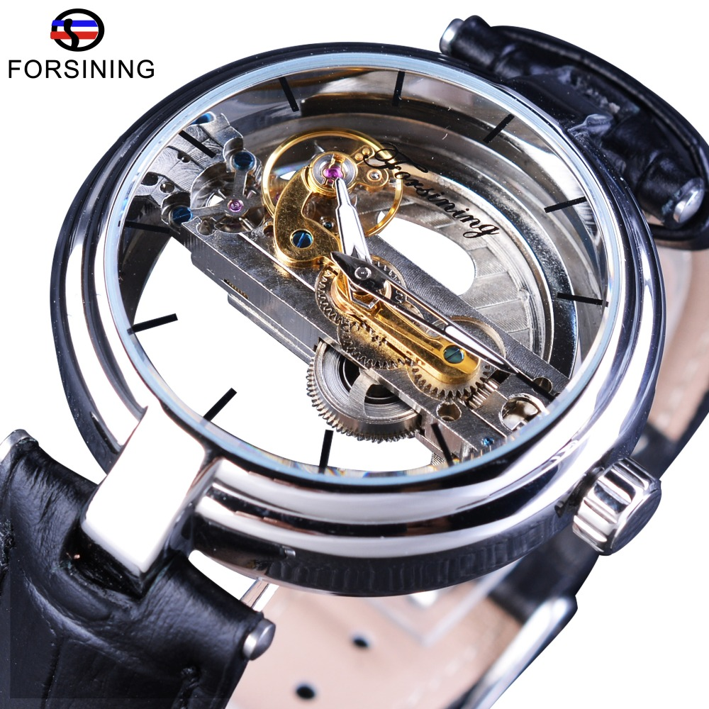 Forsining Minimalism Design Double Sided Hollow Leather Belt Waterproof Men Automatic Skeleton Wristwatch Top Brand Luxury Clock forsining brown leather belt golden bezel transparent case steampunk double sided hollow men automatic watches top brand luxury