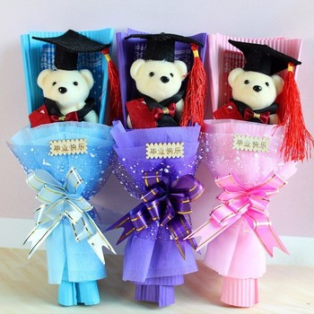 Promotion ! Teddy Bear Rose Artificial Flowers Bouquet Teddy Bear Plush Animal Doll Toy For Kid Birthday Christmas Graduate Gift