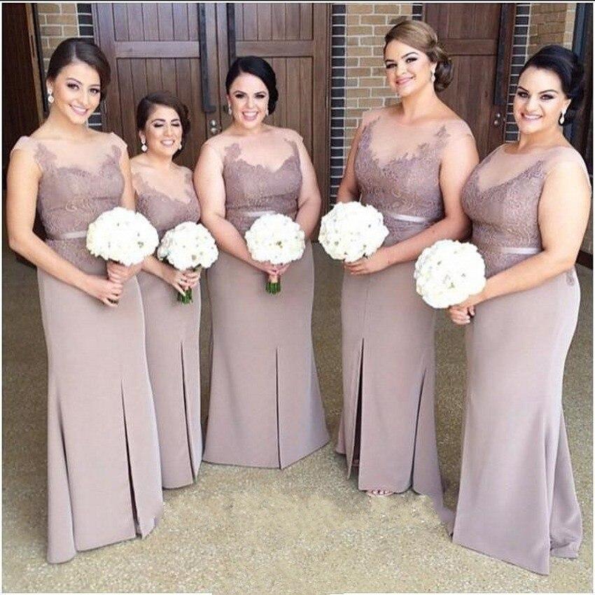 Plus Size Women Grey Illusion Neck Bridesmaid Dresses Long Pregnant