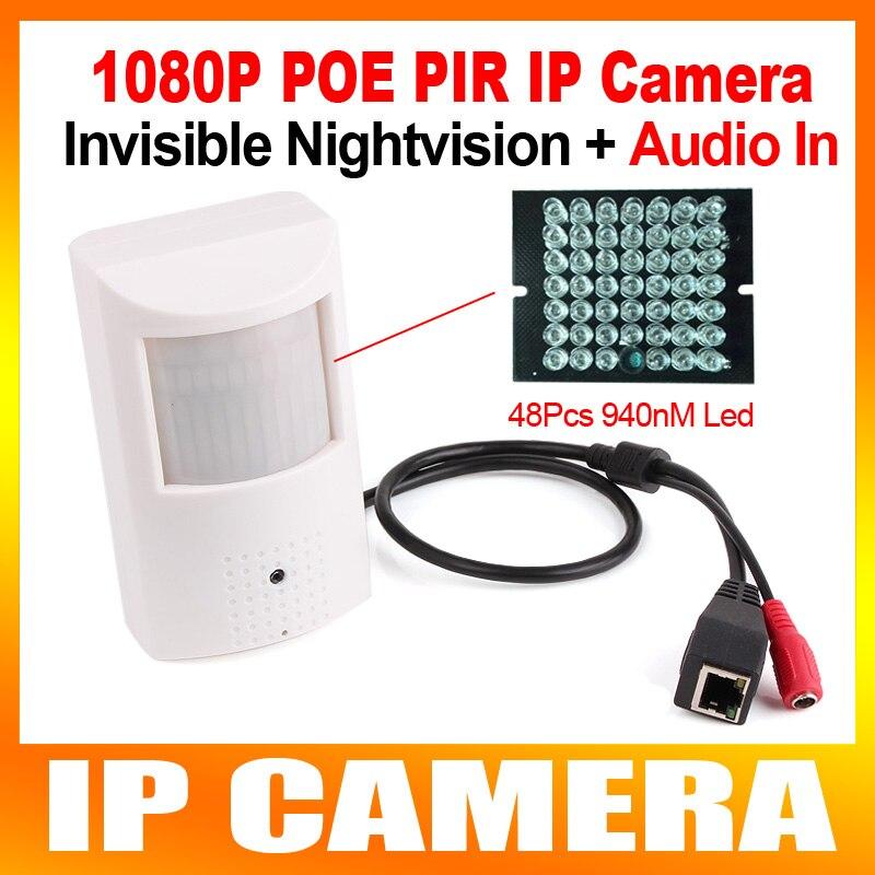 ФОТО 2016 New CCTV Camera PIR STYLE HD H.264 1080P 2.0MP IP Camera Audio POE+Night Vision+Microphone,940NM IR 10M