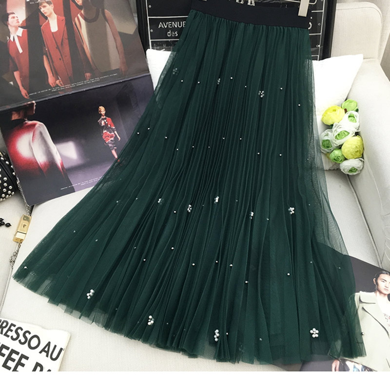 Women Spring Beading Long Tulle Skirt Ladies Soft Mesh Pleated Skirt Ball Gown Petticoat Jupe Saia Faldas Party Skirts