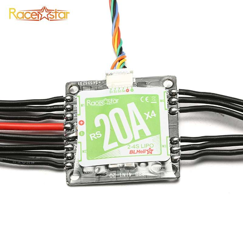 RS20Ax4 20A 4in 1 Blheli/_S Opto ESC 2-4S Support Oneshot125 Oneshot42// Multishot