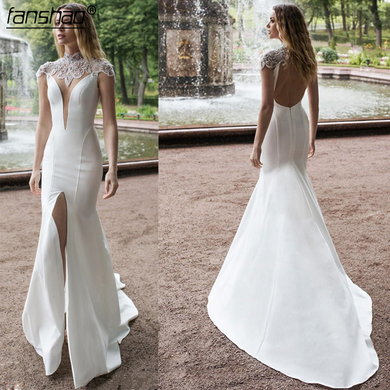 New Mermaid Wedding Dresses 2019 High Neck Front Split Lace Beads Satin Bridal Gowns Sweep Train Wedding Dress Plus Size