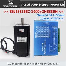 NEMA 34 Closed Loop motor 12NM 1700Oz-in 6A L 156mm 86J18156EC-1000 + 2HSS86H 2 phase schritt-servo fahrer