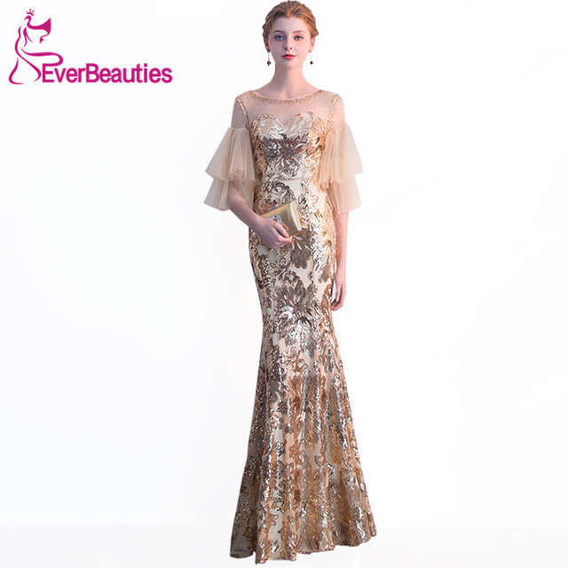 Mermaid Evening Dress 2019 Sequins with Tulle Half Sleeves Elegant Evening  Gowns Long Party Dresses Robe De Soiree a5ab57bd92d7