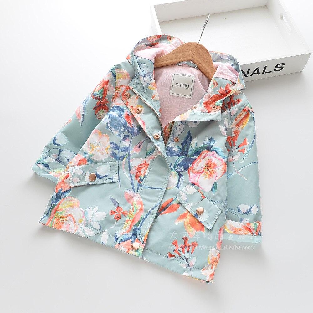 Toddler Girl Jacket With Hood 2019 Autumn Girls Fashion Flower Print Big Pocket Hooded Jackets Girl Top&outwear Kids Coat 2-7Y