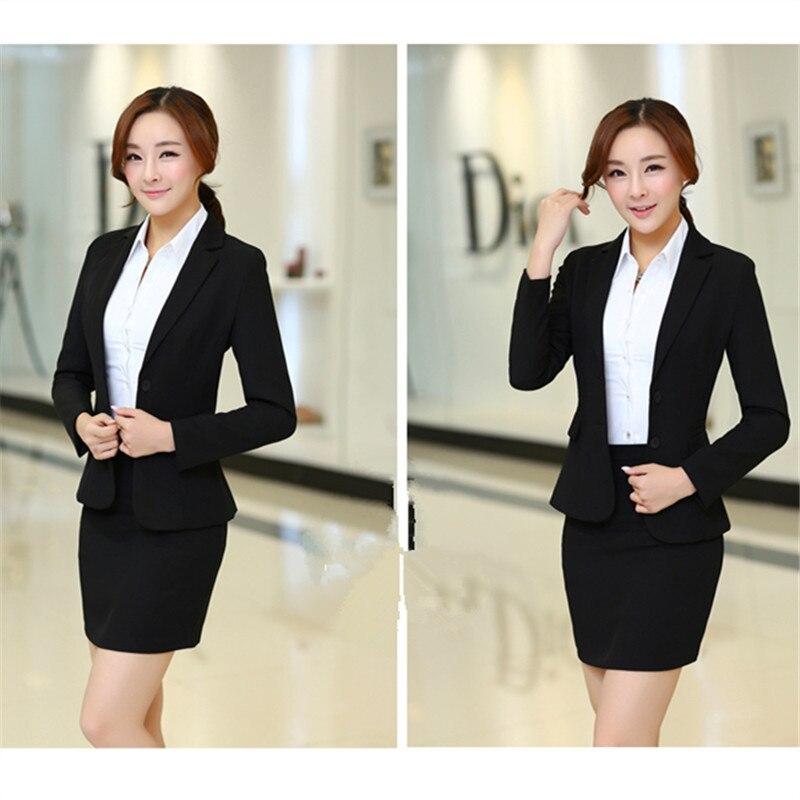 Vestito di pannello esterno delle donne ufficio uniforme signore di stile  gonna abiti blazer set di Alta qualità plus size affari elegante usura del  lavoro ... 71c1cf2418d