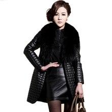 2016 Winter Fashion Faux Leather Jacket With Large Fur Collar Women Black faux sheepskin coat Long Leather Jacket veste en cuir