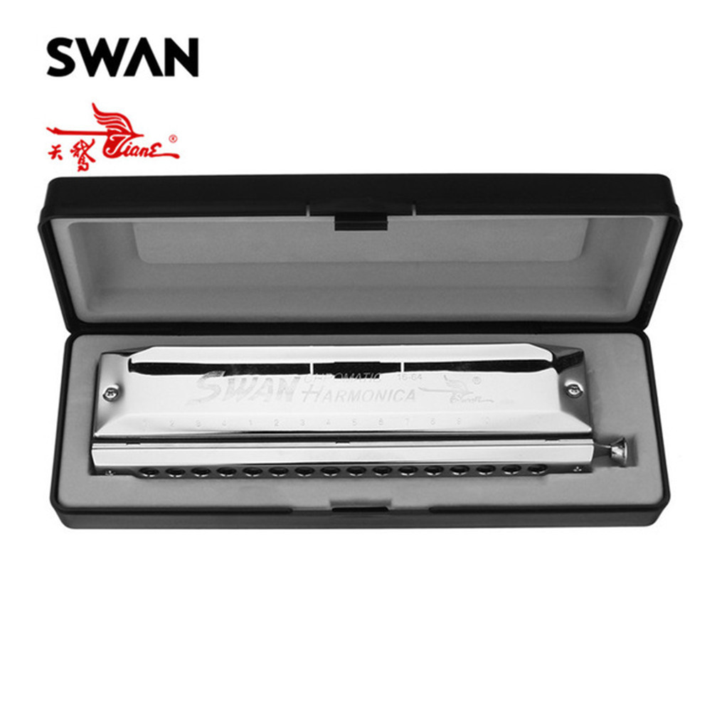 Swan 16 Holes 64 Tones Silver Color Square Chromatic Harmonica Key of C with Box