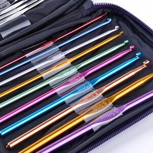22Pcs/set Mixed Colour Knitting Needles Set Aluminum Sewing Crochet Hook Kit Weave Craft Yarn Stitches With Bag [0.6mm-6.5mm](China)