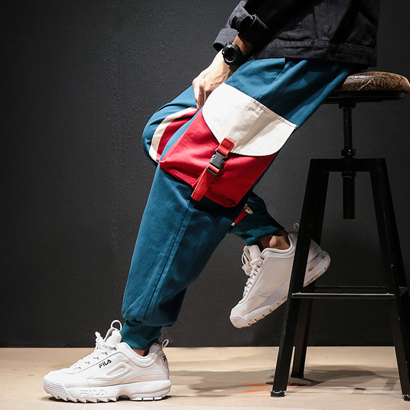 2019 Autumn Hit Color Nine Part Overalls Male Split Joint Motion Haren Leisure Time Pants Streetwear Joggers Men Harem Pants Men(China)