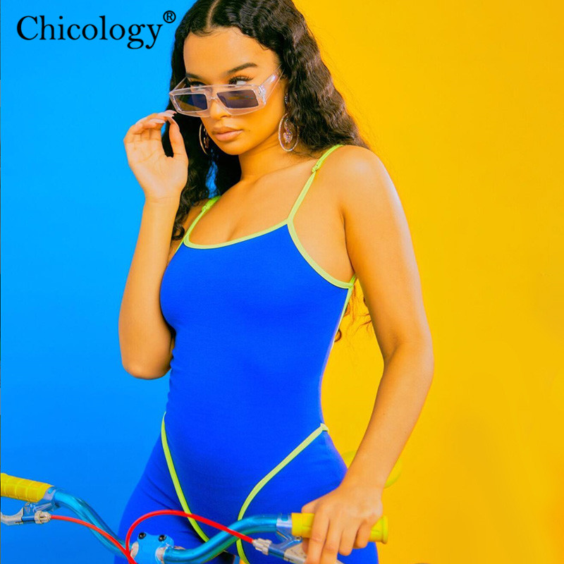 Chicology neon stripe backless sleeveless women short playsuit 2019 summer female clothes <font><b>festival</b></font> streetwear <font><b>sexy</b></font> <font><b>outfit</b></font> romper image