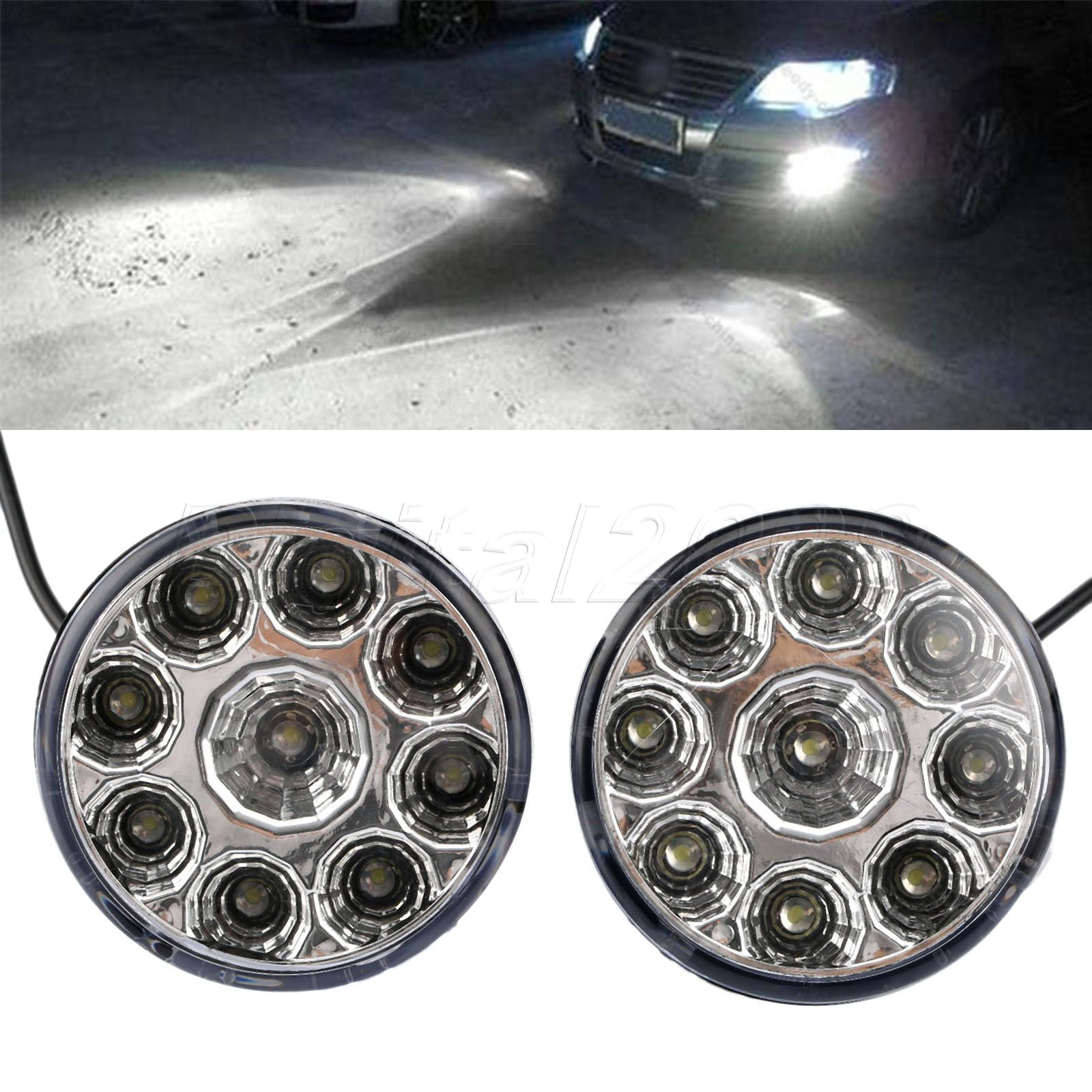 Yetaha 2pcs DRL Round Daytime Running Light Car Fog Lamp Day Driving Lamp 12v 9 LED Auto Headlight White Fog Light High Quality 1pcs high power h3 led 80w led super bright white fog tail turn drl auto car light daytime running driving lamp bulb 12v