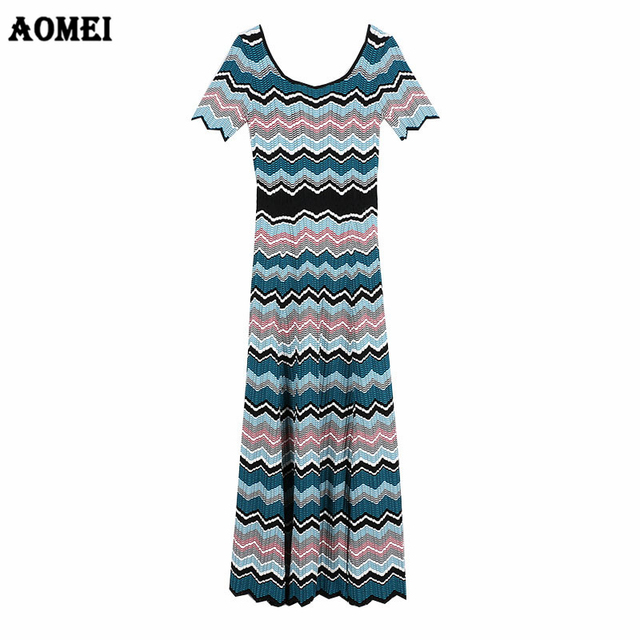9f3df7dacb49d US $49.92 35% OFF|Women Knitting Dresses Wave Striped Casual Wear Great  Stretches Tricot Girls Patchwork Autumn Summer Slim Dress Tunic Clothing-in  ...