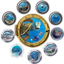 cute funny coral fish turtle sea world animals 3D window submarine home decor wall sticker for washroom living room decal xmas цена 2017
