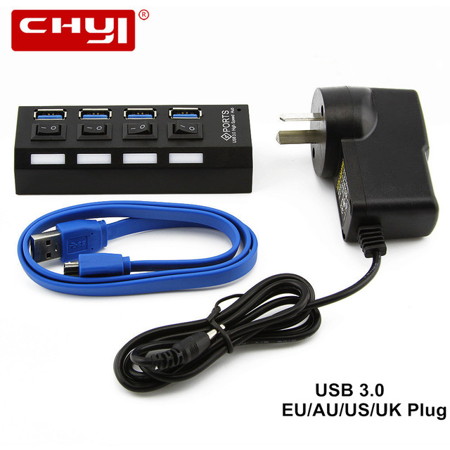 High Speed 5Gbps USB 3.0 HUB 4 Ports USB Splitter With On/Off ...
