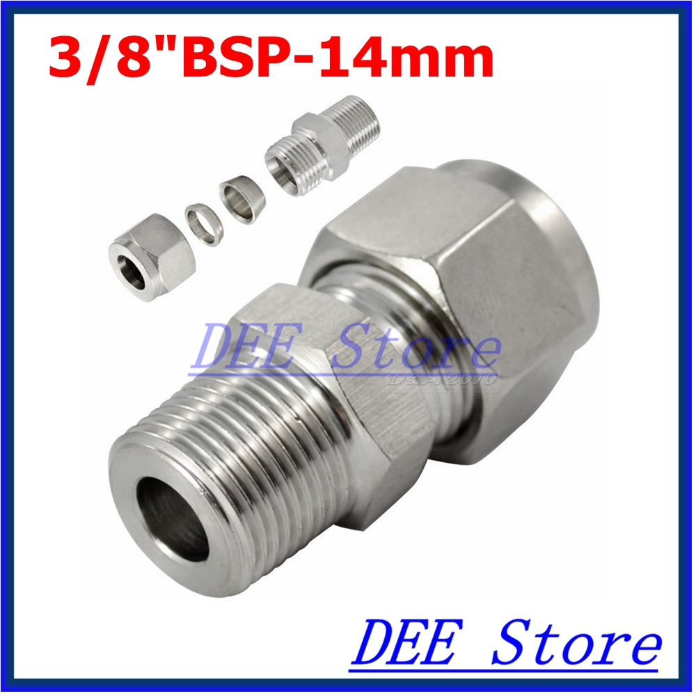 2PCS 3/8BSP x 14mm Double Ferrule Tube Pipe Fittings Threaded Male Connector Stainless Steel SS 304 New Good Quality 2pcs 3 8bsp x 1 2 12 7mm double ferrule tube pipe fittings threaded male connector stainless steel ss 304 new good quality