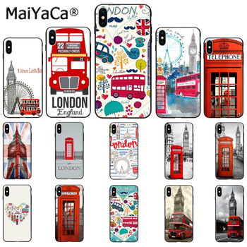 MaiYaCa london bus england telephone Soft Rubber black Phone Case for Apple iPhone 8 7 6 6S Plus X XS MAX 5 5S SE XR Cover telephony