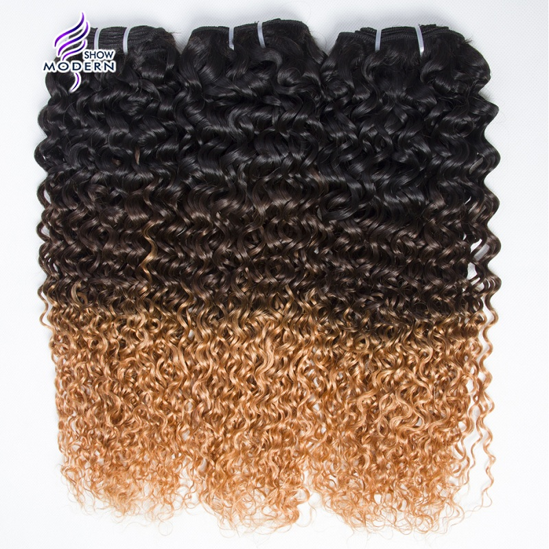 Human Hair Weaves Modern Show Omber #1b/4/27 Kinky Curly Hair Brazilian Hair Weave Bundles Remy Hair Weave Human Hair Extensions 3pcs Excellent In Cushion Effect 3/4 Bundles