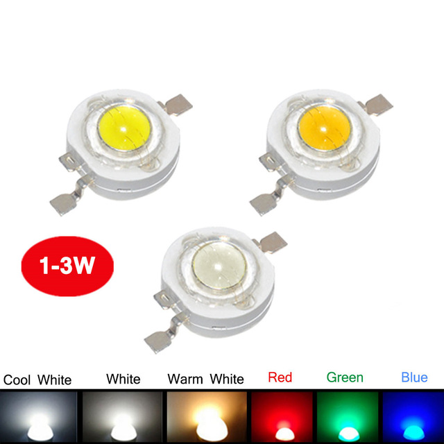 1000Pcs/Lot Real Full Watt CREE 1W 3W High Power LED lamp Bulb Diodes SMD 110-120LM LEDs Chip For 3W - 18W Spot light Downlight