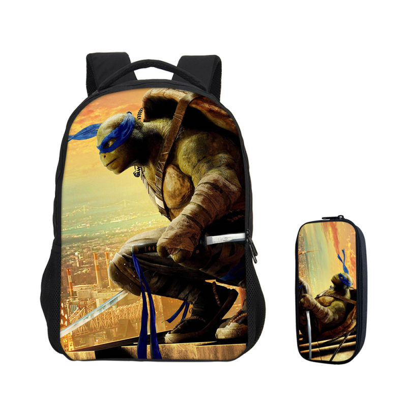 VEEVANV 2 PCS/SET Backpacks For Boys Girls Fashion Super Hero Teenage Mutant Ninja Turtles 3D Printing Bag Casual School Bookbag 16 inch anime teenage mutant ninja turtles nylon backpack cartoon school bag student bags double shoulder boy girls schoolbag page 5