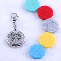 20mm Chrysanthemum Perfume Locket Charm With Lobster Clasp Essential Oil Diffuser Pendant Silver Round Aromatherapy Oils