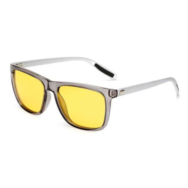 02de4ef131 Hombres polarizados mujeres visión nocturna gafas de sol Drive lente  amarillo cuadrado Vintage Hombre Mujer gafas