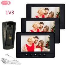 "Big discount Videophone 3 Villas Video Door Phone 7 "" Colors Monitors Night Vision Metal Waterproof Camera System Unit Intercom System Kit"