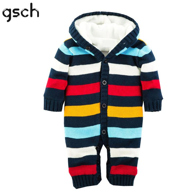 GSCH Baby Boy Clothes Winter Knitted Hooded Striped Warm Girls Baby Romper Christmas Outfit Ifant Coverall Ensemble de vetementsGSCH Baby Boy Clothes Winter Knitted Hooded Striped Warm Girls Baby Romper Christmas Outfit Ifant Coverall Ensemble de vetements