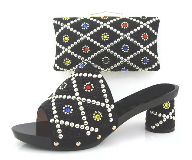 ФОТО African style PU leather shoes and bag set Black Italian party shoes and bag set matching with many Nice rhinestones TH02