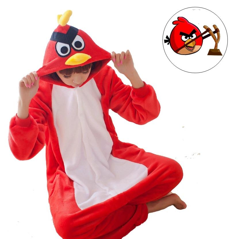 Cute Red Bird Birds Cartoon Adult Unisex Winter Animal Cosplay Pajamas Sleepwear Onesies Pajama For Women Men Couples Girls