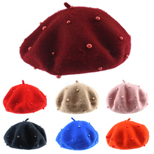 Fashion Baby Hat with Pearls Wool Candy Color Girl Beret Cap Children Kids for Girls 3-8 Years