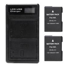 2 Pcs En-El14 Battery And Lcd Dual Battery Usb Charger For Nkon D90, D300, D5500, D5300, D5200, D5100, D3400, D3300, Df Dslr,