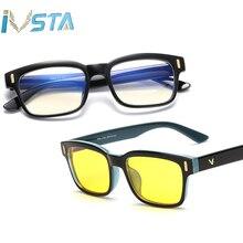 6fed591803 IVSTA computadora gafas contra los rayos azules de gafas mujeres hombres  miopía de bloqueo de luz azul lentes marco óptico de re.