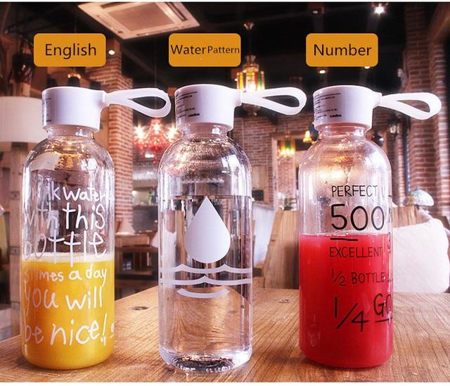 1000ml 600ml  My Lemon Water Bottle Plastic Bottles Drink Bottle Transparent Bottle Portable Botella De Agua Bidon Garrafa