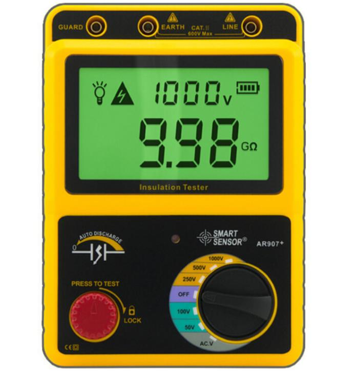 Digital Insulation Resistance Meter Tester AR907+ Rated Voltage 50V/100V/250V/500V/1000V Voltage Meter Megger Tester  as907a digital insulation tester megger with voltage range 500v 1000v 2500v
