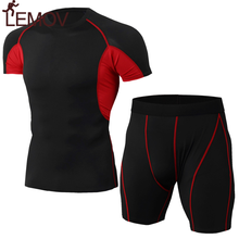 LEMOV Short Sleeve 2 Piece Men Sports Suits Breathable Polyester Elastic Fabric Sports Wear for Men Gym Male Trainning Sets(China)