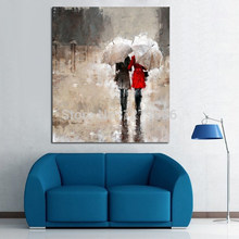 Rain Landscape Picture Two People Top Art Wholesale oil painting Nude Sexy Female Lady Woman Modern Wall Decor Art Oil Painting(China)