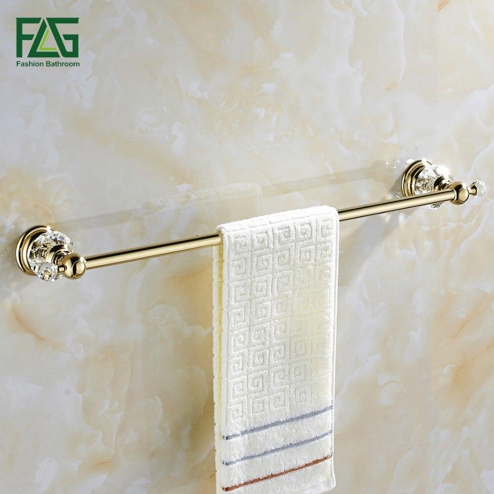 FLG Wholesale And Retail Golden Crystal Bathroom Towel Bar Single Towel Hanger Brass Bathroom Accessories G135