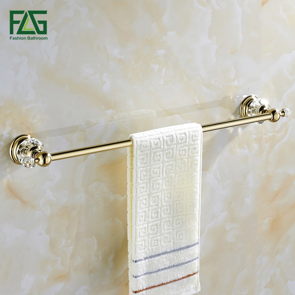 FLG Free shipping Wholesale And Retail Golden & Crystal Bathroom Towel Bar Single Towel Hanger Brass Bathroom Accessories 87501 видеокарта 2048mb msi r7 250 2gd3 oc pci e dvi hdmi dp hdcp retail